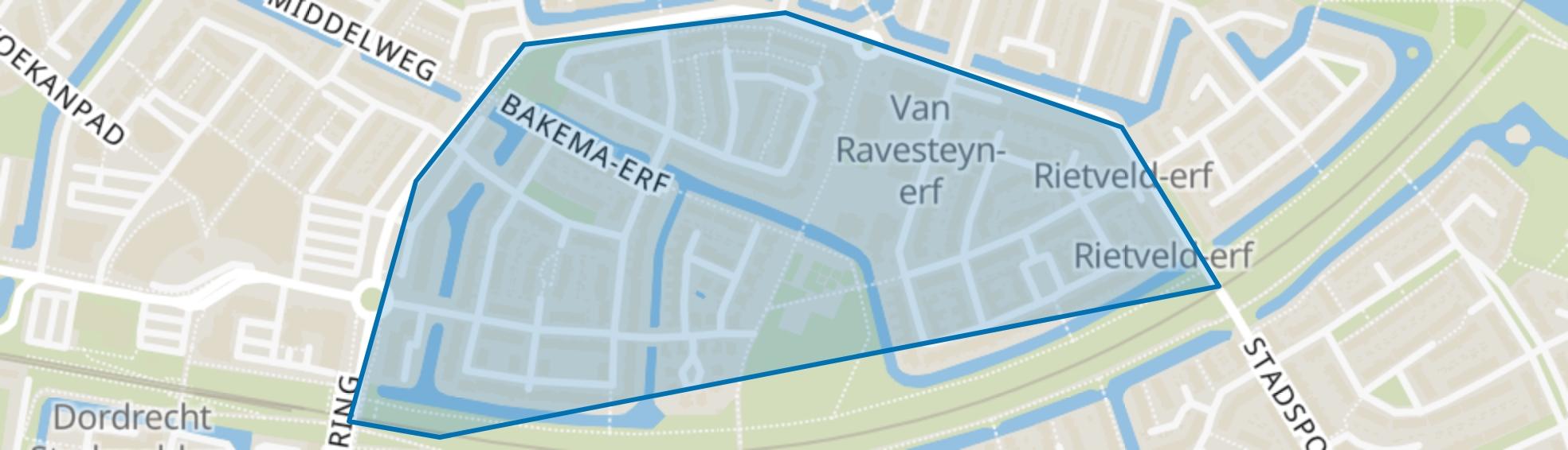 Van den Broek-erf en omgeving, Dordrecht map