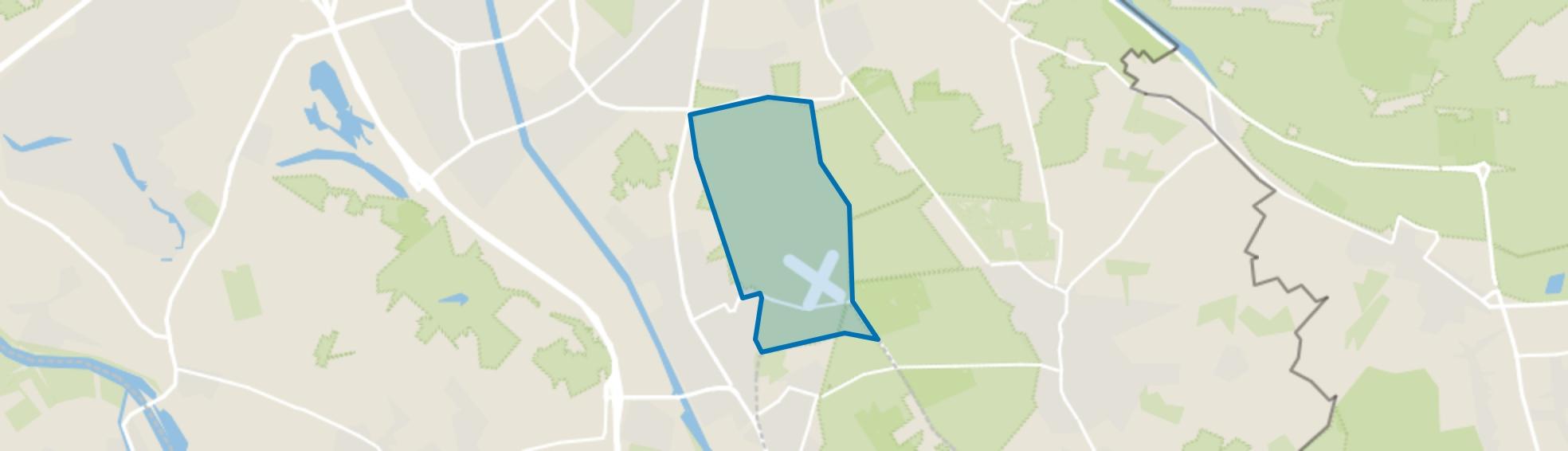Verspreide huizen bosgebied ten oosten kanaal, Malden map